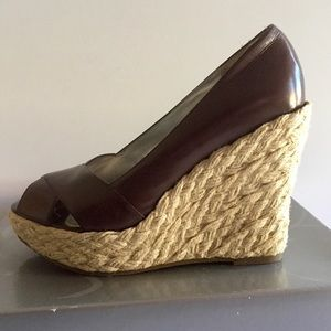 Jessica Simpson Brown Leather Wedge Sandals Sz 7M